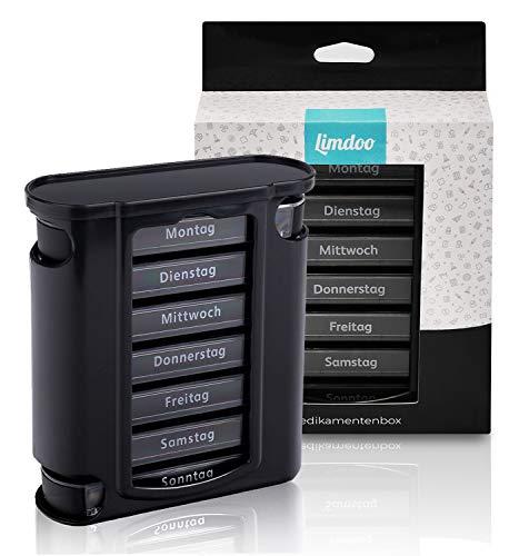 Tablettenbox 7 Tage (je 4 Fächer). Pillendose für 1 Woche. Tabletten Wochenbox mit optimierter Beschriftung. Robuste Medikamentenbox