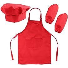 OUNONA SET Cappello Grembiule e Manicotto da cuoco e pittura per bambini in  Rosso 71e2699b1c2c