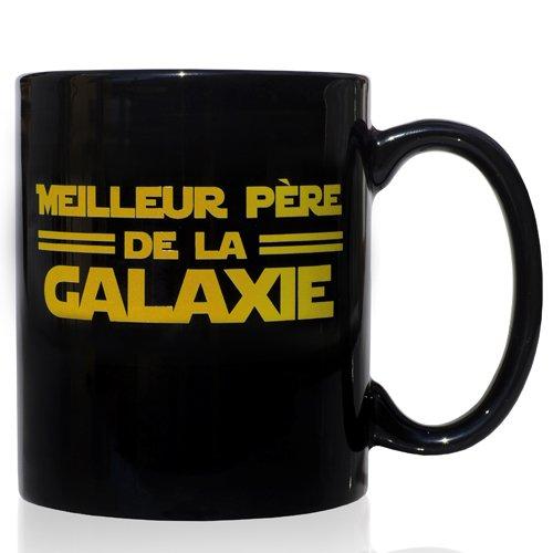 Frühstück Keramik Schwarze Tasse 32 cl. Meilleur Père de la Galaxie-Design