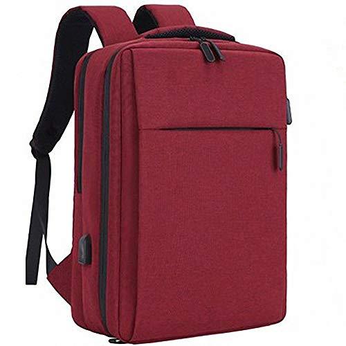 FZ FUTURE Computer-Rucksack, Business-Laptop-Rucksack, Reisetasche aus Segeltuch, mit USB-Ladeanschluss, für Männer/Frauen, für die Arbeit an der Hochschule im Freien,Red