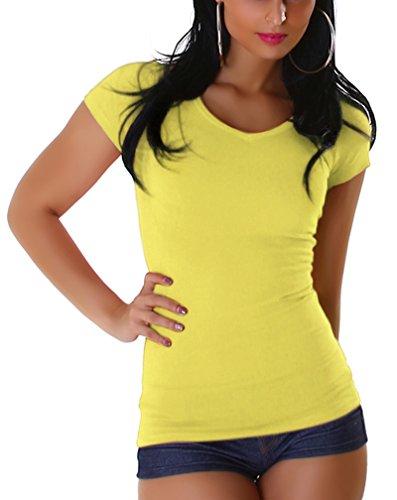 Jela London Damen Basic T-Shirt Slim-Fit Rundhals/V-Ausschnitt Longshirt Kurzarm Einfarbig Yellow (V-Ausschnitt)