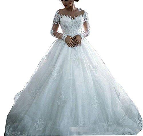 VIKEBRIDAL Damen Juwel Lange Ärmel Elegant Perlen Ballkleid Brautkleid Mit Taste Weiß 40