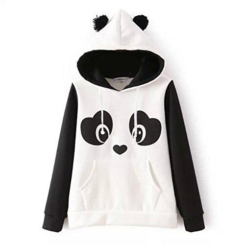 DELEY Donne Ragazze Autunno Inverno Panda Modello Manica Lunga Felpe Con Cappuccio Pullover Capispalla Cappotto Hoodie Hoody Taglia M