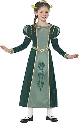 Smiffys Kinder Shrek Prinzessin Fiona Kostüm, Kleid, Haarband mit Diadem und Ohren, Shrek, Größe: S, (Halloween Kostüme Fiona)