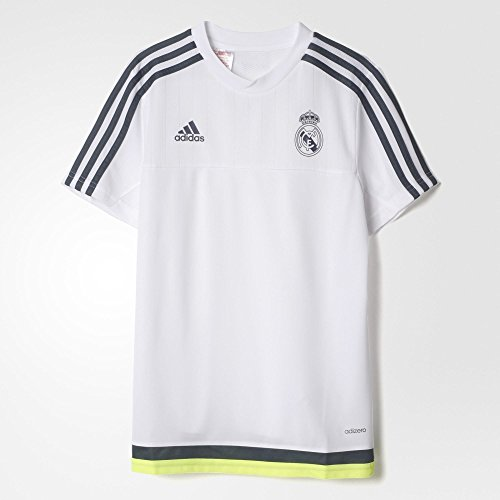 adidas Real Madrid CF Training Youth Jersey-White, Jungen, White/Grey/Volt (Jersey Madrid Ronaldo Youth-real)
