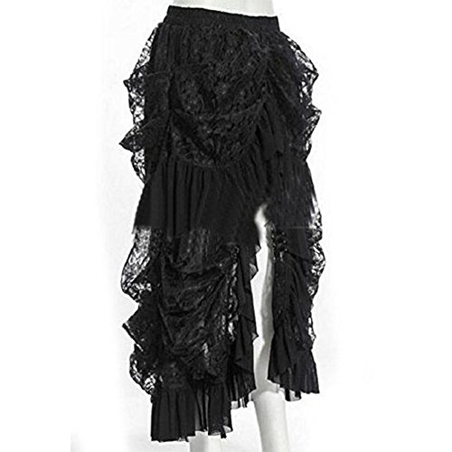COSWE Damen Schwarz Spitze Punkrock Steampunk Rock Irregulär Kleid Cosplay Kostüm (2XL:Waist=82cm/32.28inch)