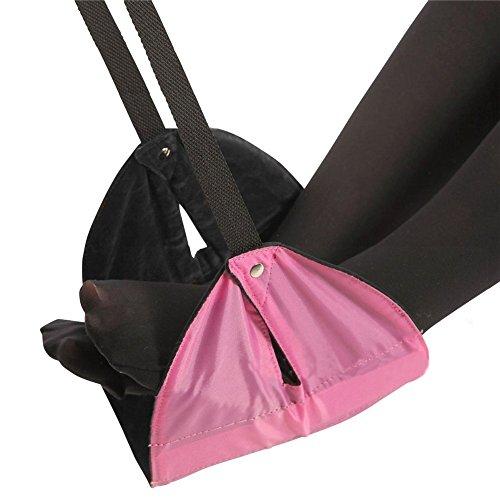 Einstellbar Hängematte Stand (TININNA Einstellbare Mini-Füße Hängematte Flug Tragen Sie tragbare Fußstütze Falten Reise Fuß Rest Stand mit Taschen (Rosa))