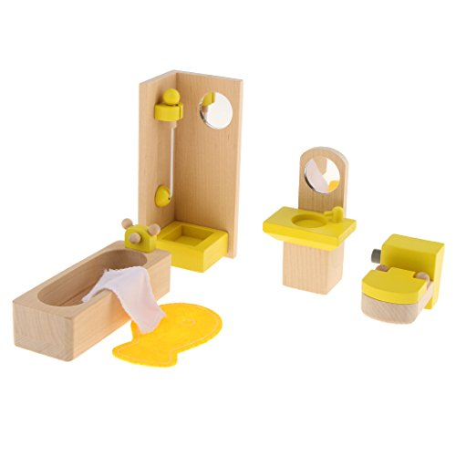 Gazechimp Miniatur Puppenmöbel Schlafzimmer/ Kinderzimmer/ Küche/ Wohnzimmer/ Bad Holzmöbel Satz Kinder Rollenspiel Spielzeug - Bad