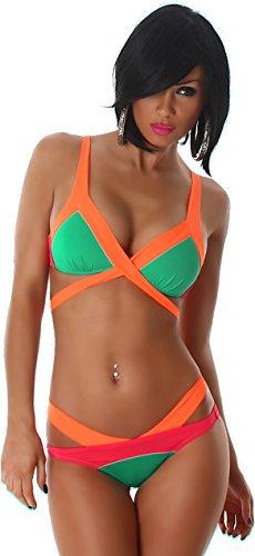 vettori Donne Bikini riuniti Push-Up slittamento Top gancio regolabile costume da bagno al neon Trendy benda verde 36/38