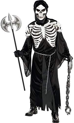 Fancy Me Herren Creepy Gruselige Crypt Keeper Skelett Sensenmann Halloween Kostüm Outfit M-XL - Medium-Large
