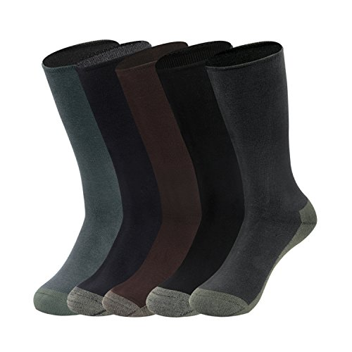 GATHER OTHER 5 Pares Respirable Calcetines hasta la Rodilla de Fibra de Bambu Anti-olor Antibacteriano para Hombre (m:UK 6-8/EU 38-42)