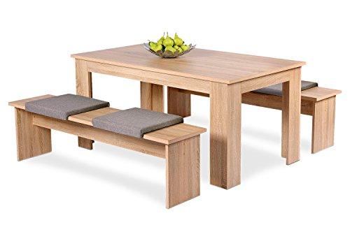 Avanti trendstore set con tavolo e due panche per la sala da pranzo, in quercia sonoma d'imitazione, ca. misura tavolo: 140x75x80cm