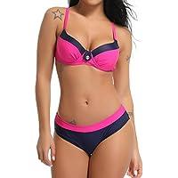 FITTOO Bikini Bandeau Maillot de Bain Femme Deux Pièces Push-up avec Pad, Rose, M