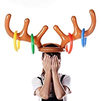 LAEMILIA Christmas Party Toss Inflatable Reindeer Antler Hat with Rings Dress Up Holiday Party Game Toys