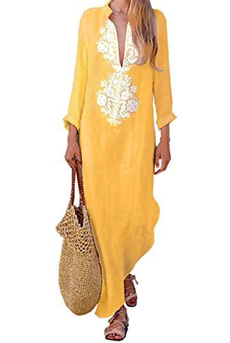 ZIYYOOHY Damen Vintage Leinen Kleid Sexy V Ausschnitt Langarm Gedruckt Boho Ethnischer Druck Lang Maxi Kleid (M(38), Gelb)