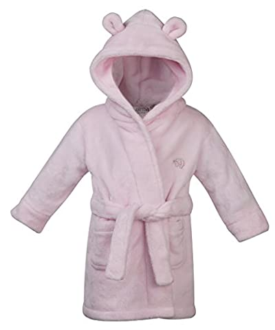 Babytown Baby Girls Velvety Soft Hooded Dressing Gown Pink 6-12