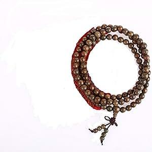 BRACELET - COLLIER MALA BOUDDHISTE - 108 Perles en Bois de Santal - Avec pochette en Satin offerte