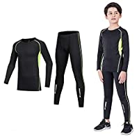 Coralup Kids Compression Sets Sport Base Layer Boys Thermal Underwear Suits Fitness Clothing 2PCS Green&Black 6-7Years