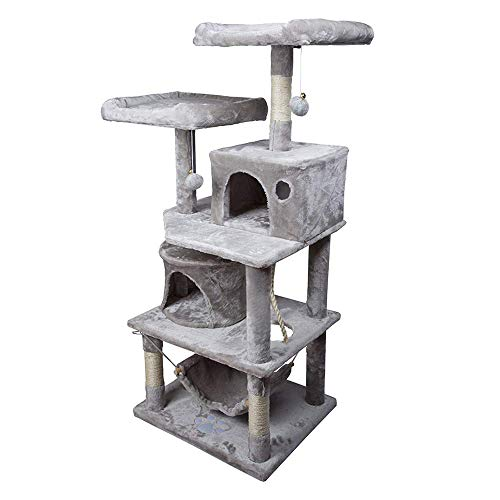 Aufun Stabiler Kratzbaum 145 cm hoch Kletterbaum für Katzen mit Häuschen und Liegemulde,Plüsch-Sitzmulden,Sisal umwickelte Kratzstellen, Hellgrau