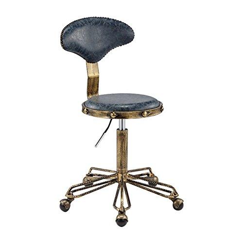 Barhocker-TRR TRRE@ Retro- runder Stuhl-justierbarer Schwenker-hydraulischer Gasheber-Schemel für Frisur, 360 Grad-Schwenker, maximale Gewichtskapazität 140kg (Farbe : 1, größe : 50cm) -