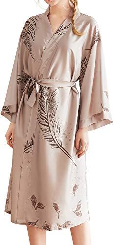 Chaos World Damen Morgenmantel Seide Satin Kimono Lange Robe Bademantel mit Federn und Blätter(Beige,XX-Large) -