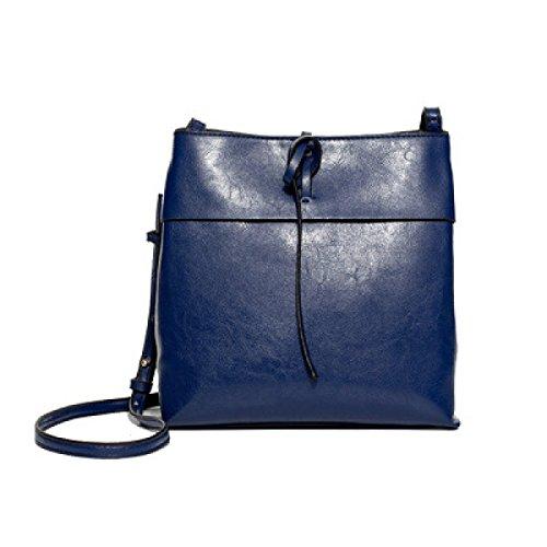 Frauen Elegante Tote Schultertasche Weiches Leder Große Messenger Bags Damen Urlaub Einkaufstaschen Büro-Satchel Blue