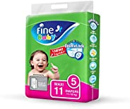 Fine Baby Double Lock, Size 5, Maxi, 11-18 kg, 11 Diapers