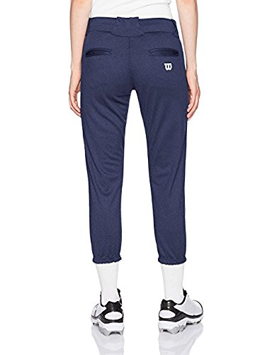 Wilson Women's (Low-Rise) Heavyweight Poly Warp Knit Softball Pant, Navy, XX-Small (Low-rise-uniform)