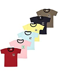 SR Kids Wear Boy's Cotton Ribbed Neck T-Shirt - (Pack of 6)