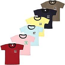 S.R.Kids Cotton Baby Boys Rib Neck Tshirt (Pack of 6)