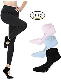 Calcetines Pilates Yoga Antideslizantes Traspirable Mujer para Barra Ballet Danza (3 Par)