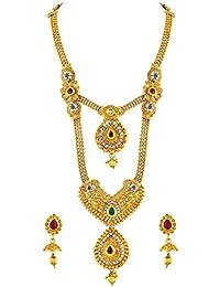 Asmitta Ravishing Red & Green Kundan Gold Plated Opera Style Necklace Set For Women