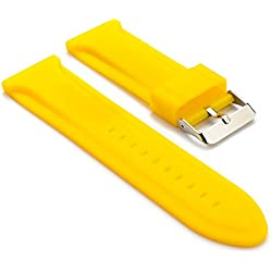 StrapsCo Waterproof Silicone Watch Band in Yellow size 28mm
