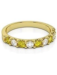 18KT Amarillo Oro 0,29CT certificado g-H/VS corte redondo amarillo zafiro y diamante Half Eternity Ring agdr-1108