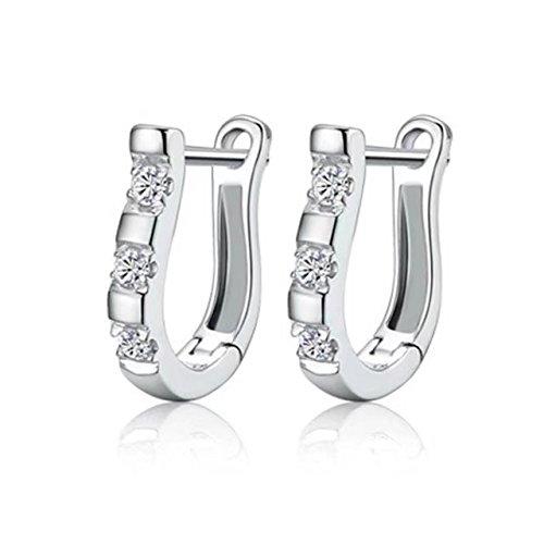 DDU(TM) Charming Women's Sterling Silver Ear Hoop Earrings Ear Stud