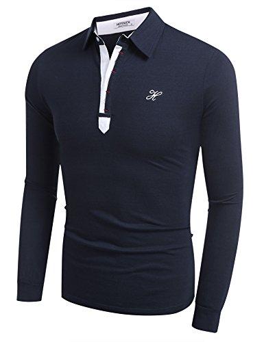 BeautyUU Herren Poloshirt Langarm Polohemd Longsleeve Langarmshirt Navy Blau L