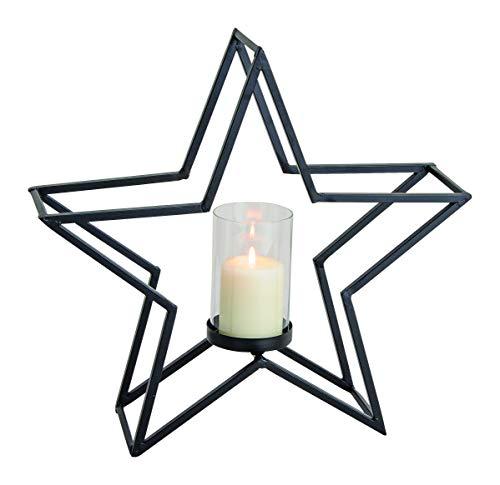 GW GmbH Windlicht Metall Stern schwarz groß Kerzenhalter modern ausgefallen Weihnachten Weihnachtsdeko Deko schlicht Teelichthalter