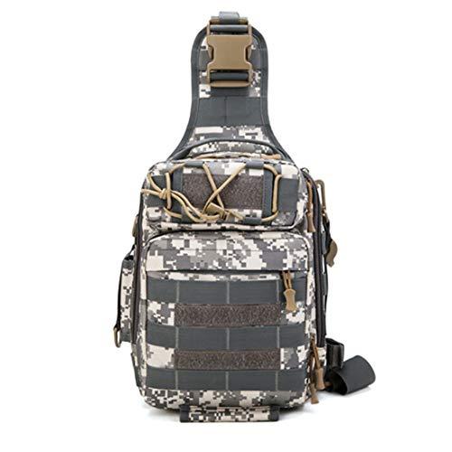 Taktischer Molle-Sling-Brustrucksack - Army Assault Pack Rucksack Laptop Daypack Daysack Military Mini-Rucksack für den Outdoor-Sport,camouflagewhite (Lunch-box Molle)