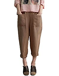 c91581fe501a Hibote Harem Shorts for Women - 3 4 Trousers Cropped Capri Trousers Elastic  Waist Pockets Leisure Trousers Casual Sports Pants Plus…