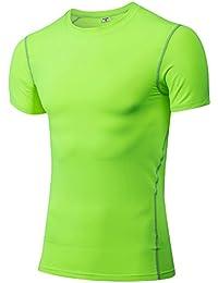 ec7dc7d79a1e4 Secado Rápido Hombres Camisa De Compresión De Manga Corta para Running  Cycling Football Basketball