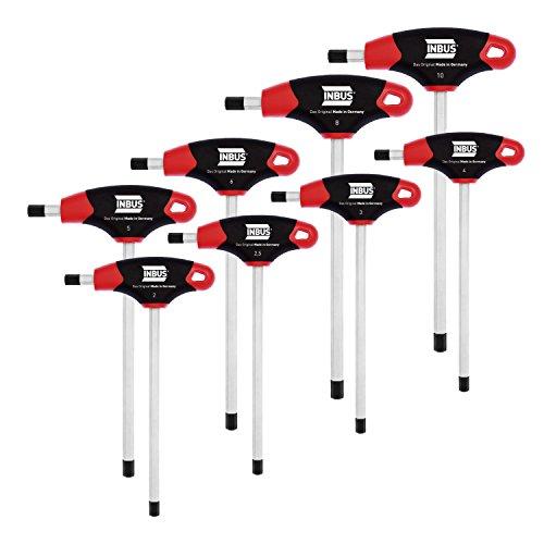 INBUS® 70129 Inbusschlüssel Satz / Set 2K T-Griffe 8tlg. 2-10mm| Made in Germany | Innensechskantschlüssel | Winkelschlüssel | 2mm | 2,5mm | 3mm | 4mm | 5mm | 6mm | 8mm | 10mm | metrisch