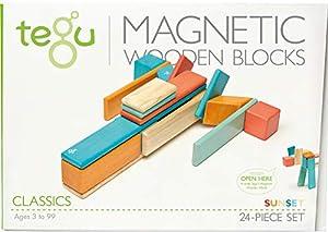 Tegu Juego de Bloques de Construcción de madera magnéticos de 24 piezas - Puesta de Sol