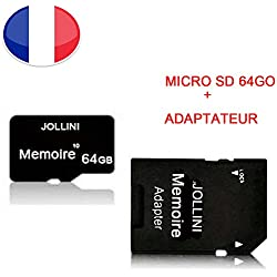 Carte mémoire Micro SD 64 Go Classe 10 + Adaptateur SD pour Samsung Galaxy A3 (2015) SM-A300F - JOLLINI® Universel Protection