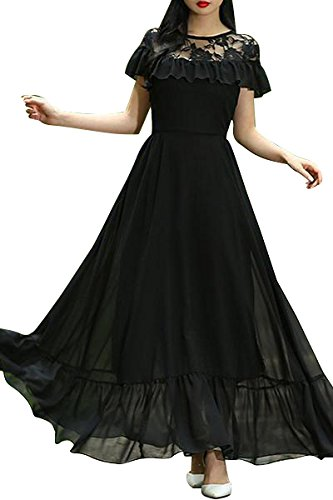 Aashish Garments Black Net Style Ruffle Peplum Women Maxi Dress (blk-net-rfle-peplm-Maxi-DRS-XXL)