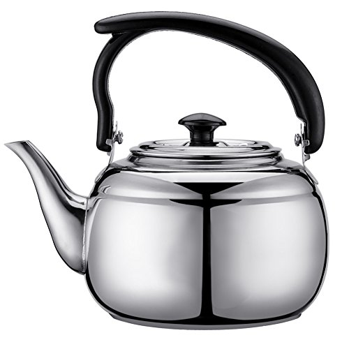 Behavetw acciaio inossidabile acqua bollitore, 1L Tea Coffee pot non elettrico bollitore a fischio da usare per fornello a gas, a induzione, fornello a spirito, Come da immagine, 1 l