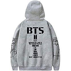 SIMYJOY Pareja BTS Fans Hoodie Bangtan Boys Members Logo Pullover Hip Pop Sudadera Fresca KPOP Street Fashion Top para A.R.M.Y Hombre Mujer Adolescente Gris L