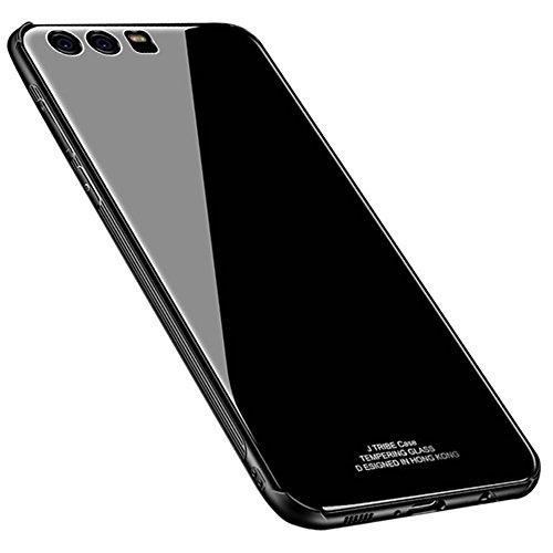 Kepuch Quartz Huawei P9 Plus Hülle - TPU + Gehärtetes Glas Rückseite für Huawei P9 Plus - Schwarz