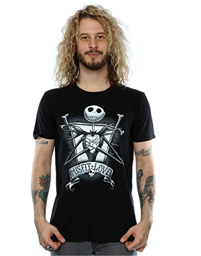 (Disney Herren Nightmare Before Christmas Jack Skellington Misfit Love T-Shirt Large Schwarz)