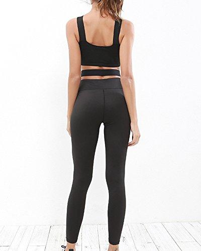 Femme 2 Pièces Courroie transversale Jogging Fitness Yoga Slim Envelopper la poitrine Gilet+Pantalon Combinaison de sport Noir