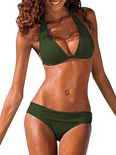 Ybenlover Damen Halter Push Up Bikini Set Neckholder Bandeau Sexy Badeanzug (X-Large, Armeegrün)
